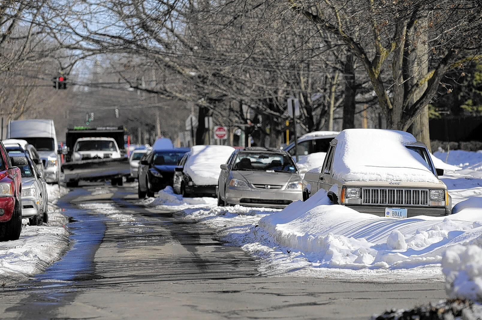 Elm Street is inundated with snow near the corner of Ellsworth Avenue in New Haven.