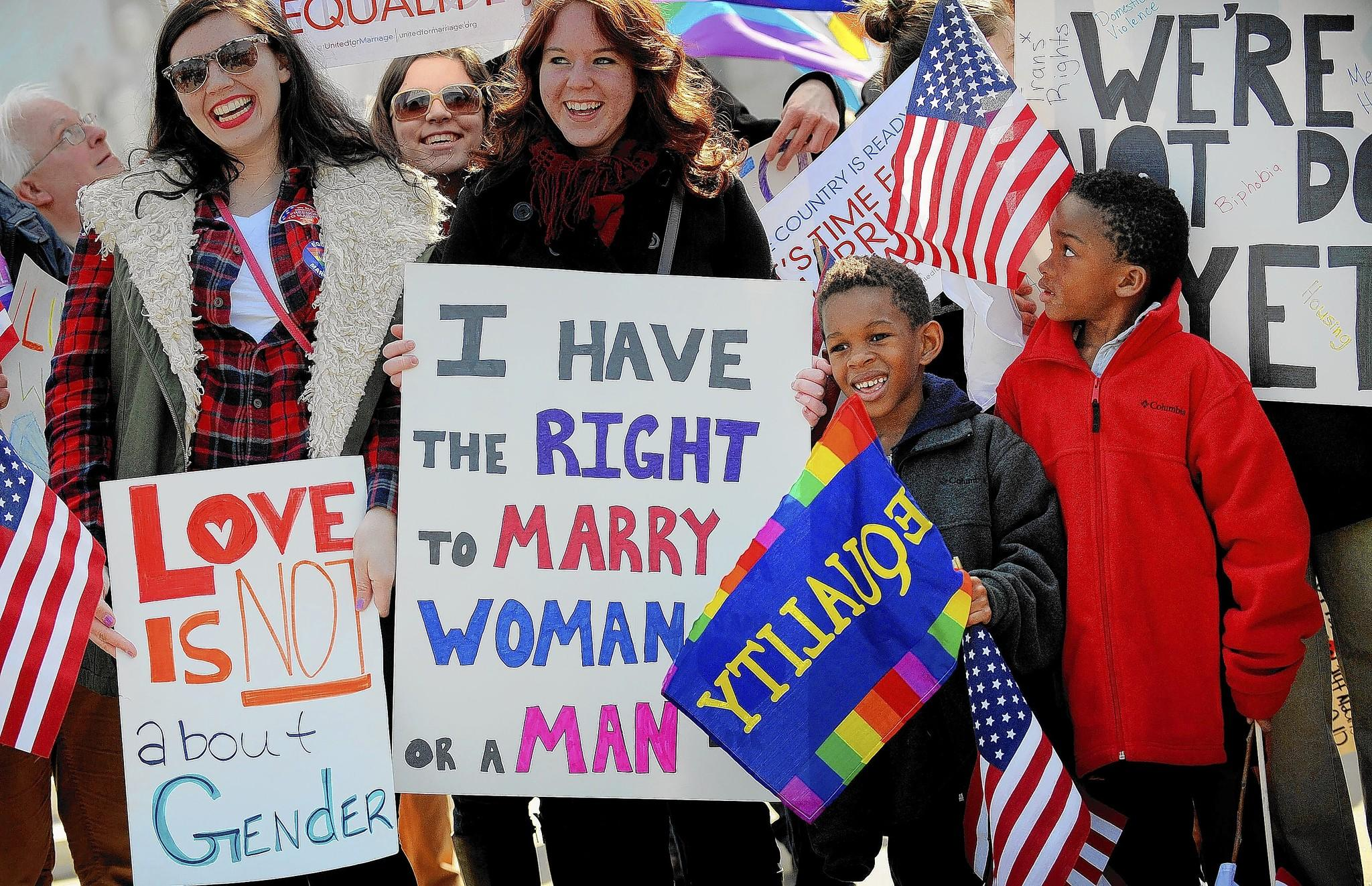Demonstrators rallied in front of the U.S. Supreme Court in March as the high court debated the Defense of Marriage Act.