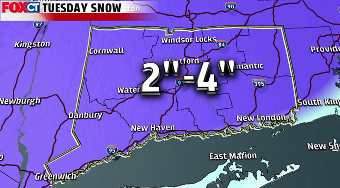 Projected snowfall totals for Tuesday's storm.