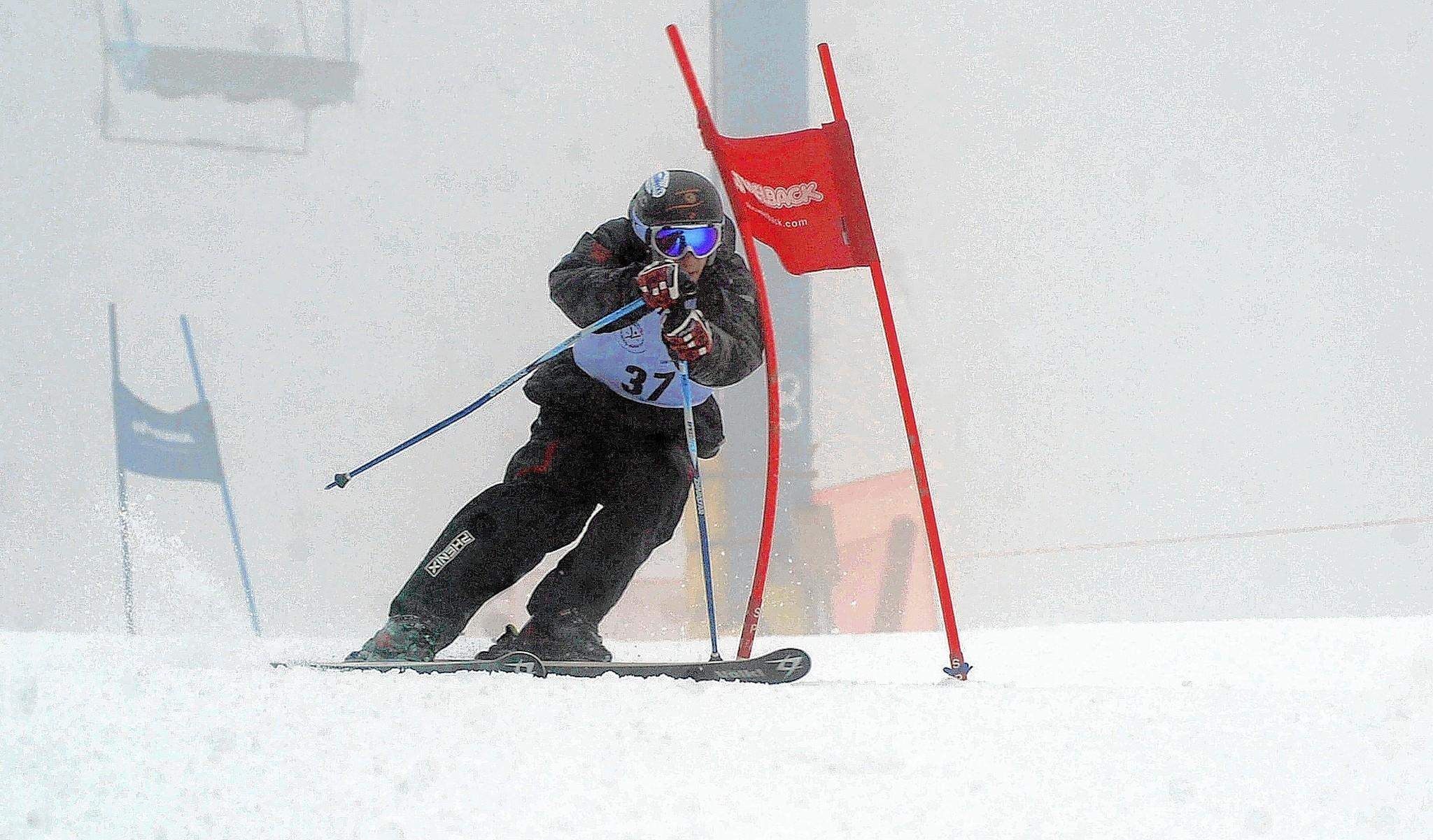 Tyler Carter of Topton races the Giant Slalom course at Camelback Mountain Resort in Tannersville.