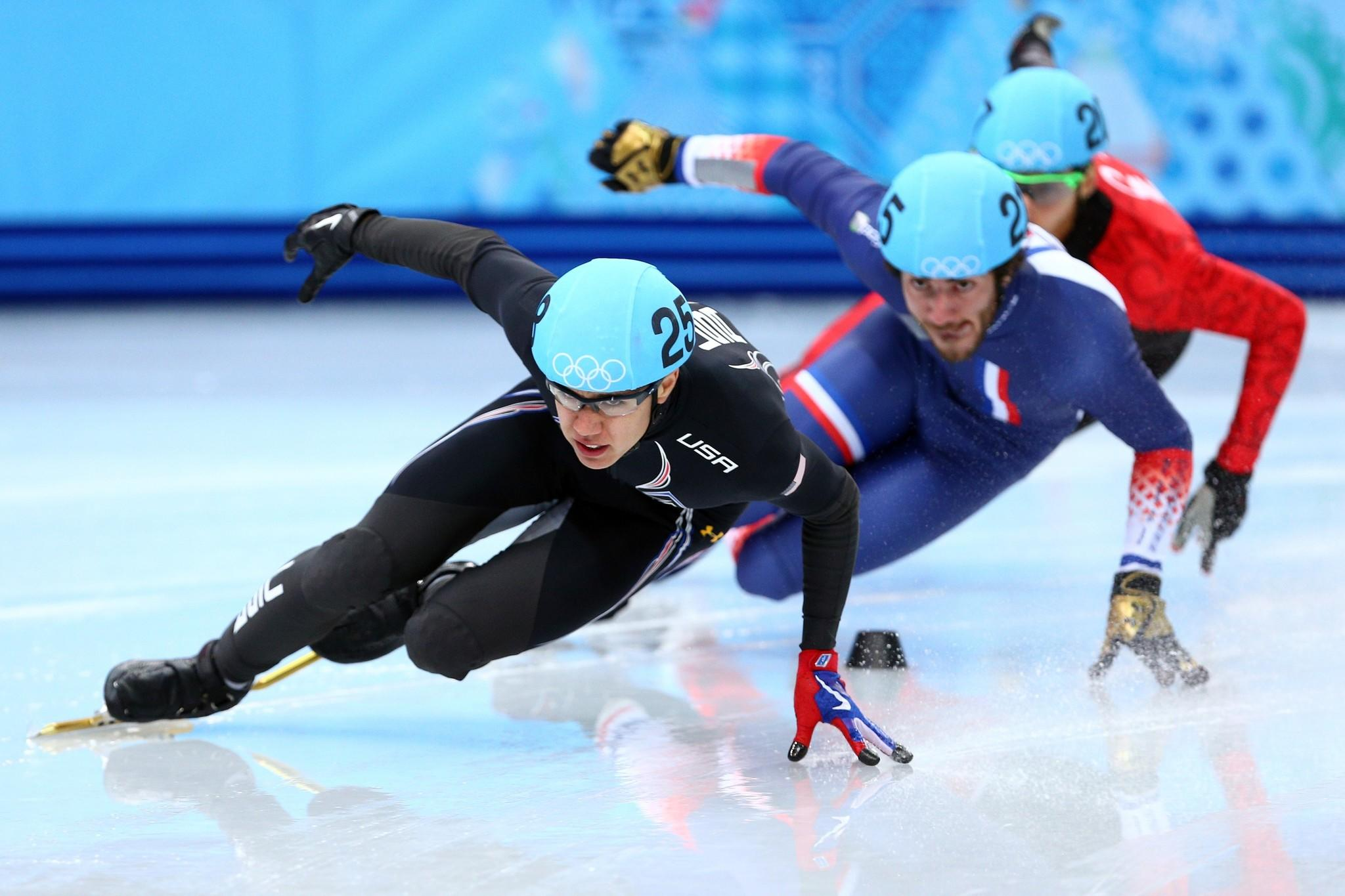 J.R. Celski of the United States leads the pack in the Short Track en's 500m Heat at Iceberg Skating Palace.