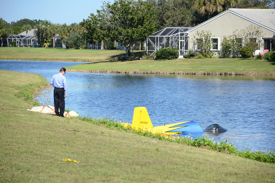 Wellington, Fla -- At 1255pm crews responded to reports of an single engine small aircraft crash on the 2900 block of Greenbrier Blvd in Wellington. On arrival crews found a small aircraft partially submerged in a lake. Upon gaining access to the cockpit they found one occupant that was a signal 7. This is a very active scene and more information will be released as it becomes available.
