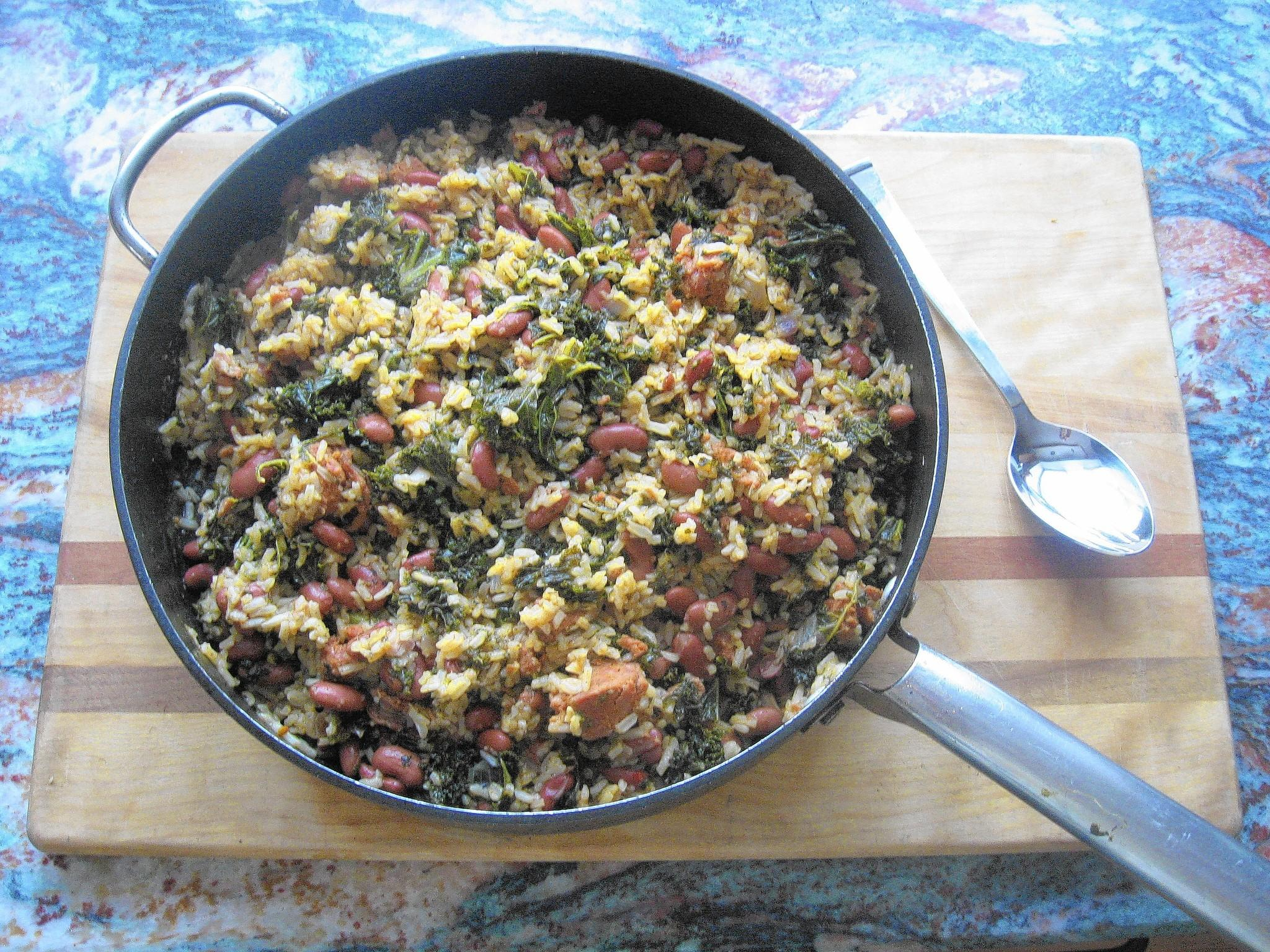 This rice, beans and kale dish borrows staples such as canned beans and rice from the pantry.