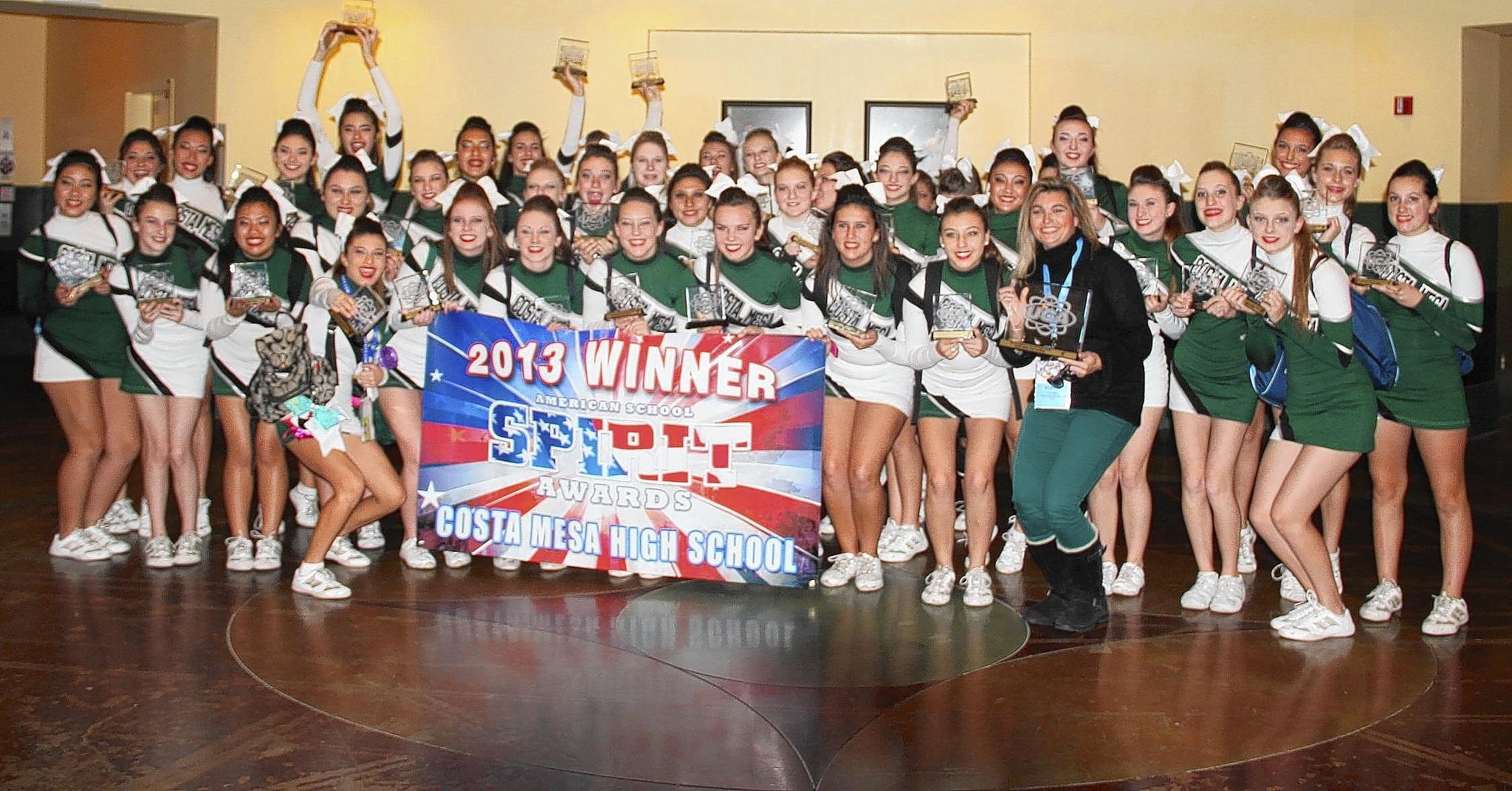 Costa Mesa High School cheerleaders pose for a photo after winning the American School Spirit Award at Nationals in Florida last week.