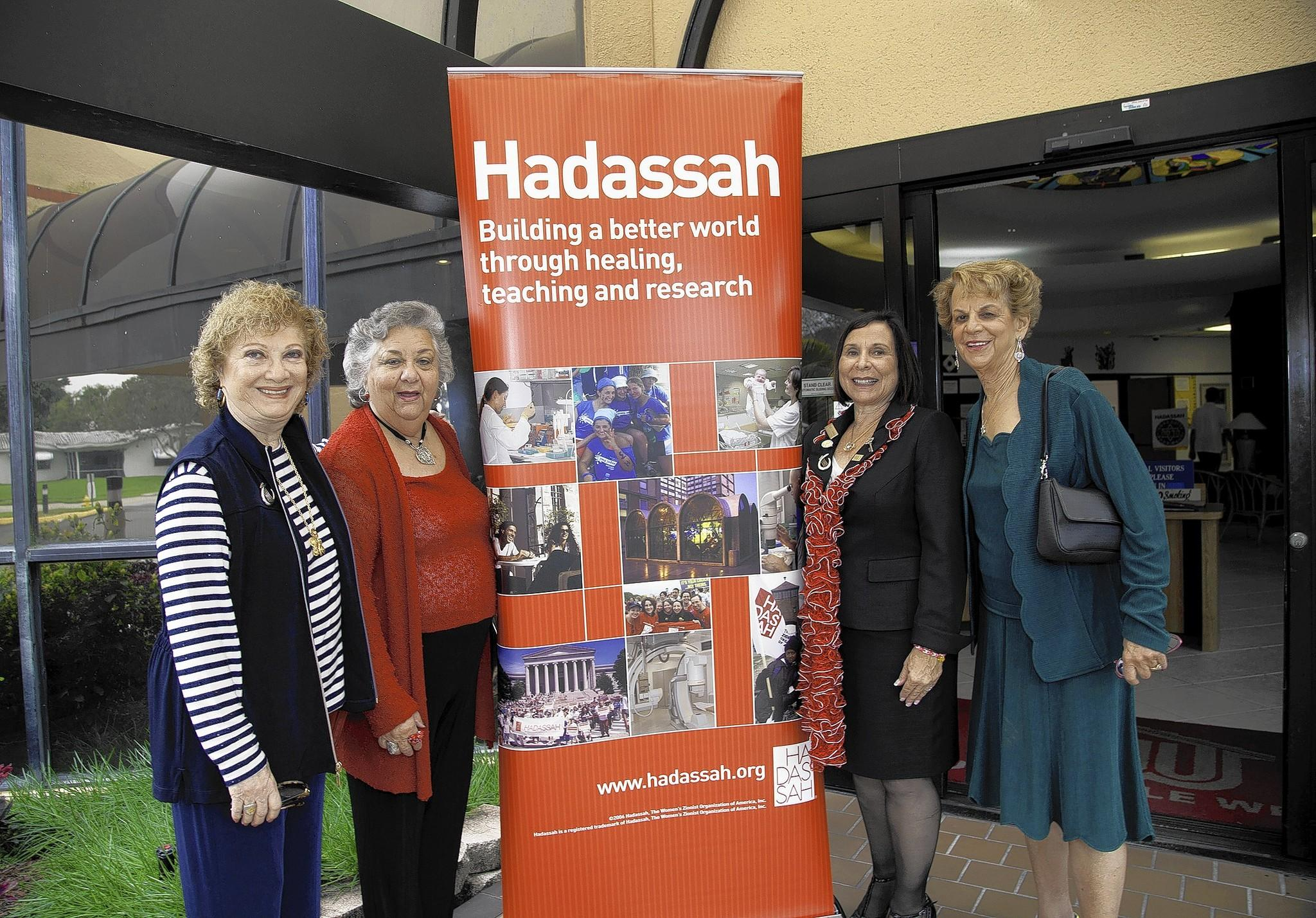 Bobby Levy, Phyllis Goldman, Merna Shapiro and Muriel Frank learn about heart health at the Florida Broward Region of Hadassah's brunch earlier this month.