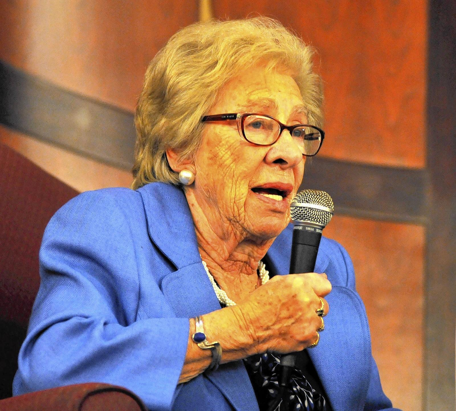 Eva Schloss, childhood friend and stepsister of Anne Frank, speaks at Chabad of Weston during her South Florida tour.