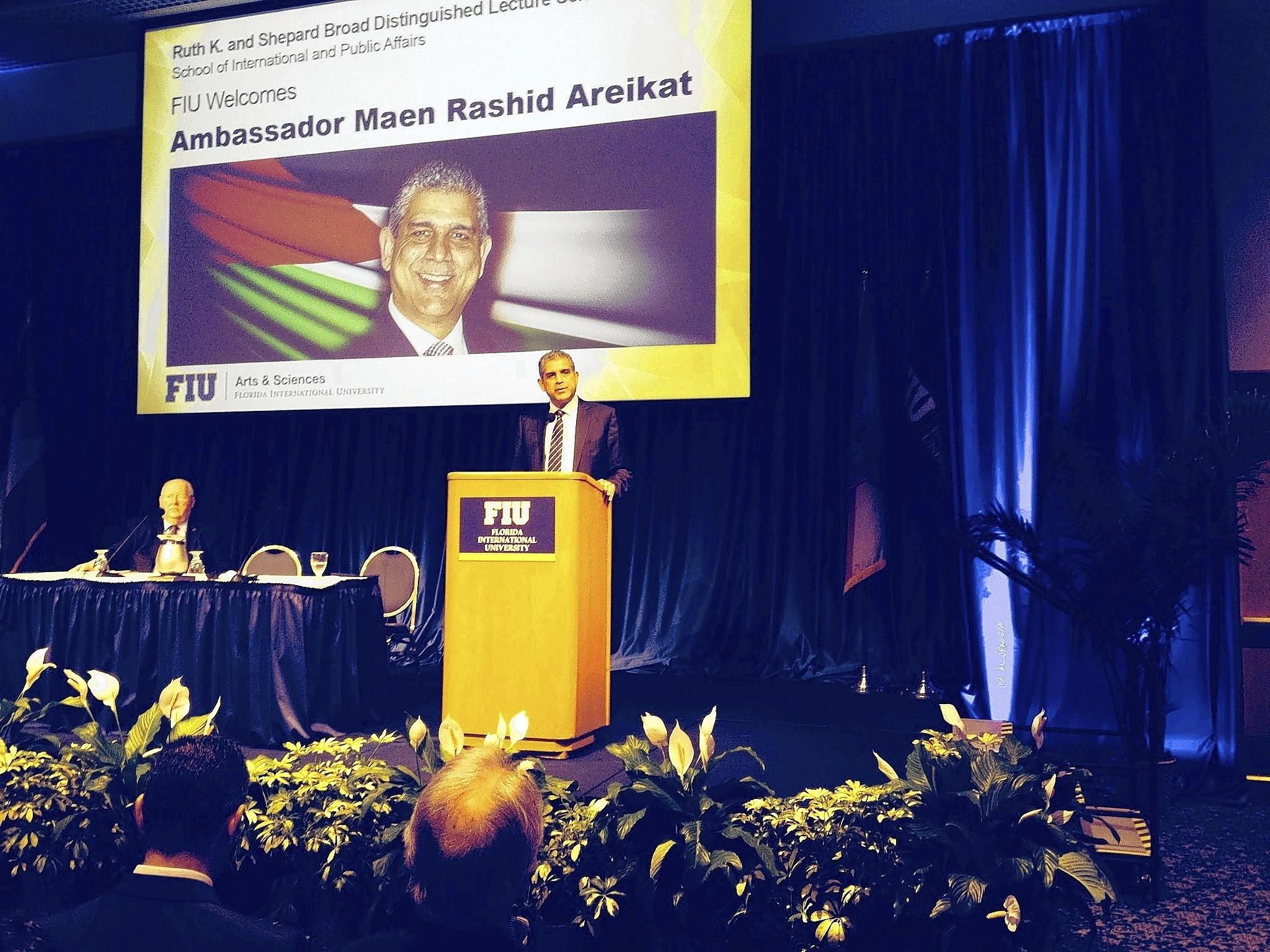 Maen Rashid Areikat, the Palestinian ambassador to the United States, speaks at FIU.