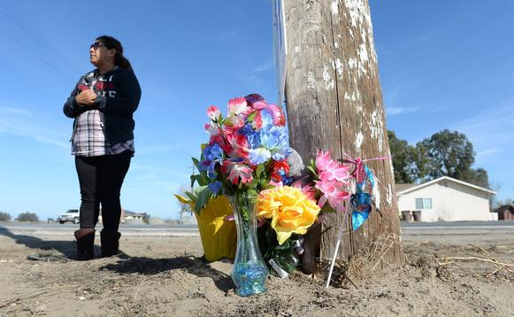 Blanca Amezola, a friend of the family members who were killed in Saturday's crash, stands by the accident site to view a memorial Sunday in Riverdale.