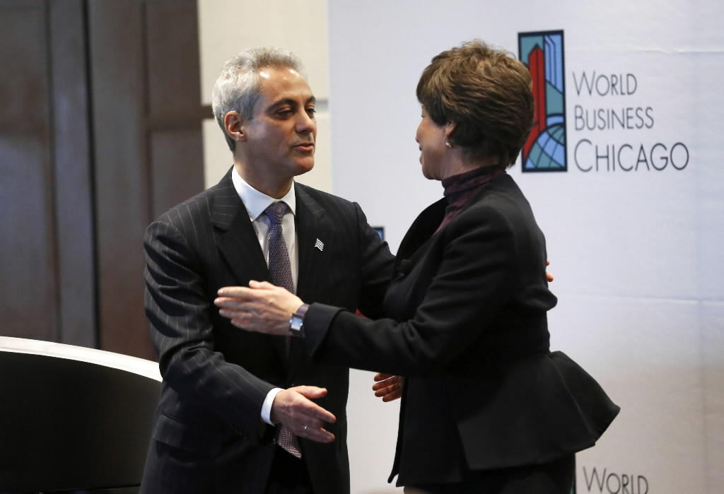 Mayor Rahm Emanuel, seen here this month with White House Senior Adviser Valerie Jarrett, addressed immigration today.