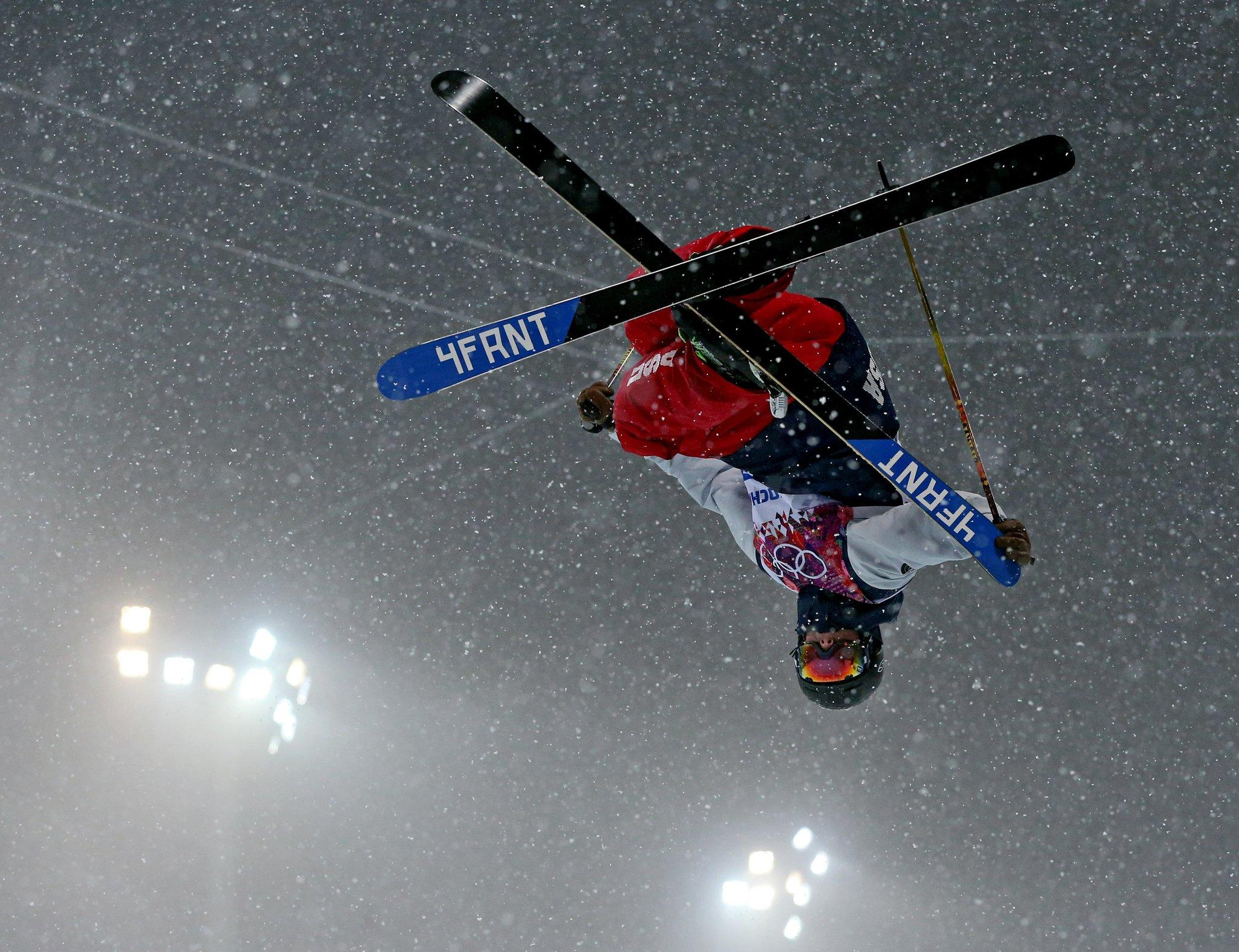 David Wise of the USA skis on his way to a gold medal in the men's ski halfpipe at Rosa Khutor Extreme Park.