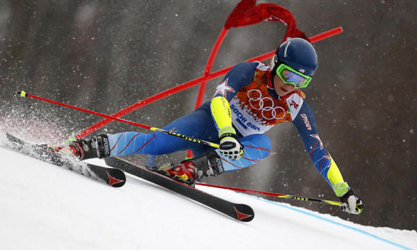 Mikaela Shiffrin competes in the giant slalom at the Winter Olympic Games in Sochi, Russia, on Tuesday. The American teenager finished fifth in the event.