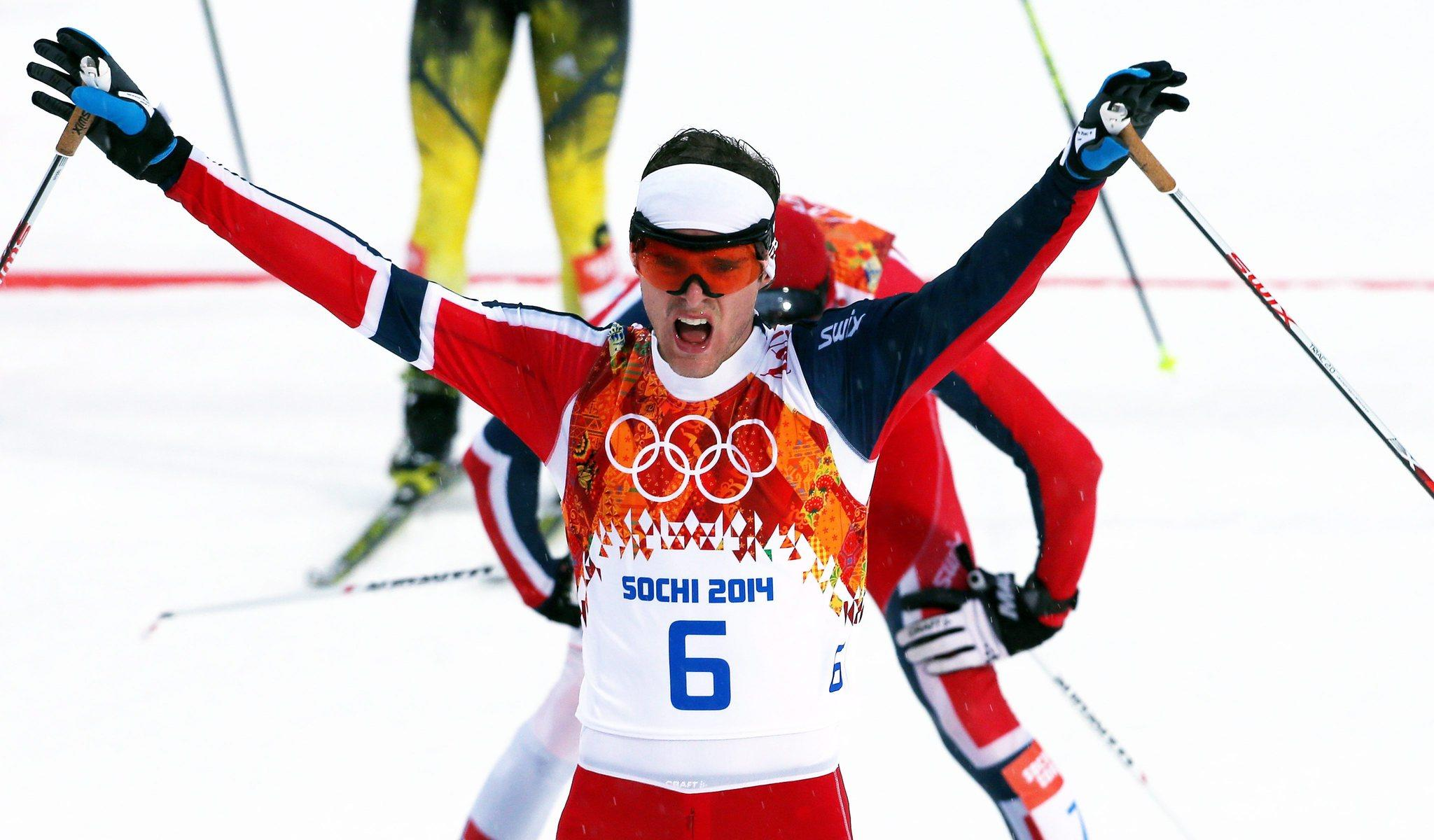 Joergen Graabak of Norway celebrates after the Nordic Combined Individual LH / 10 km competition.