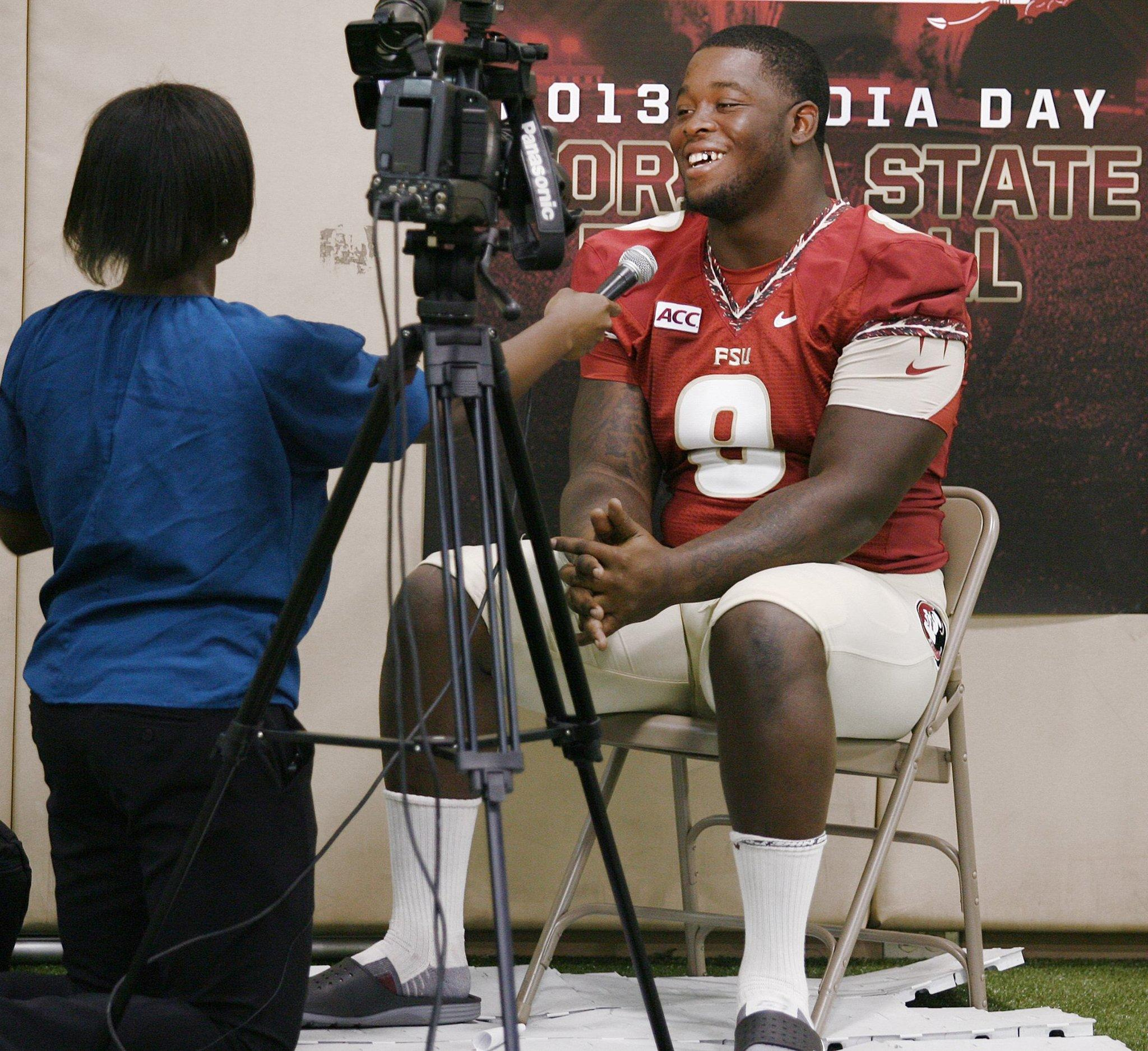 Defensive tackle Timmy Jernigan is interviewed during Florida State Media Day.