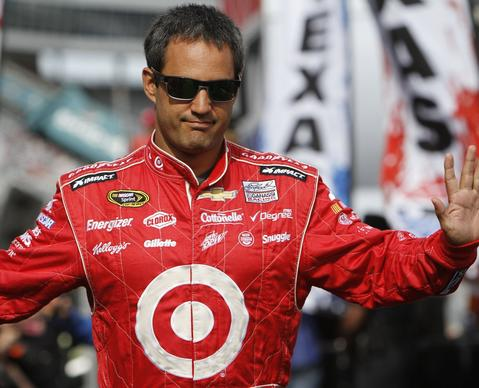 Juan Pablo Montoya is introduced before the NASCAR Sprint Cup series AAA Texas 500 at Texas Motor Speedway.