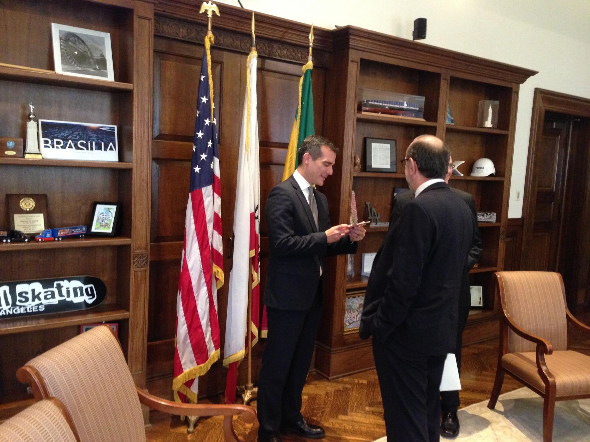Los Angeles Mayor Eric Garcetti meets in his City Hall office with Mexico City officials.