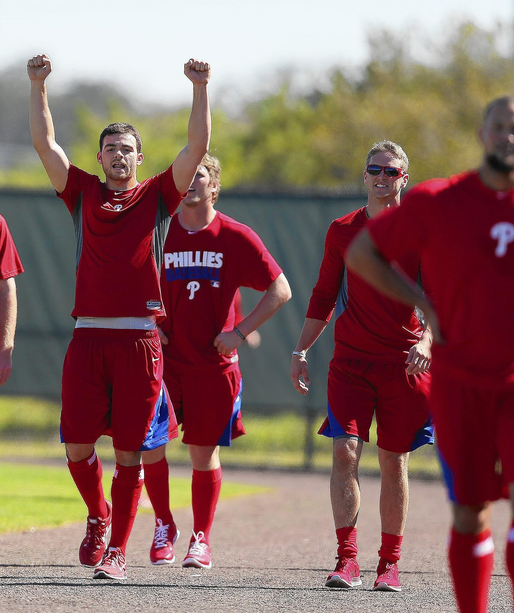 Philadelphia Phillies' Jesse Biddle, left, attends spring training in Clearwater, Fla., on Monday, Feb. 17, 2014.