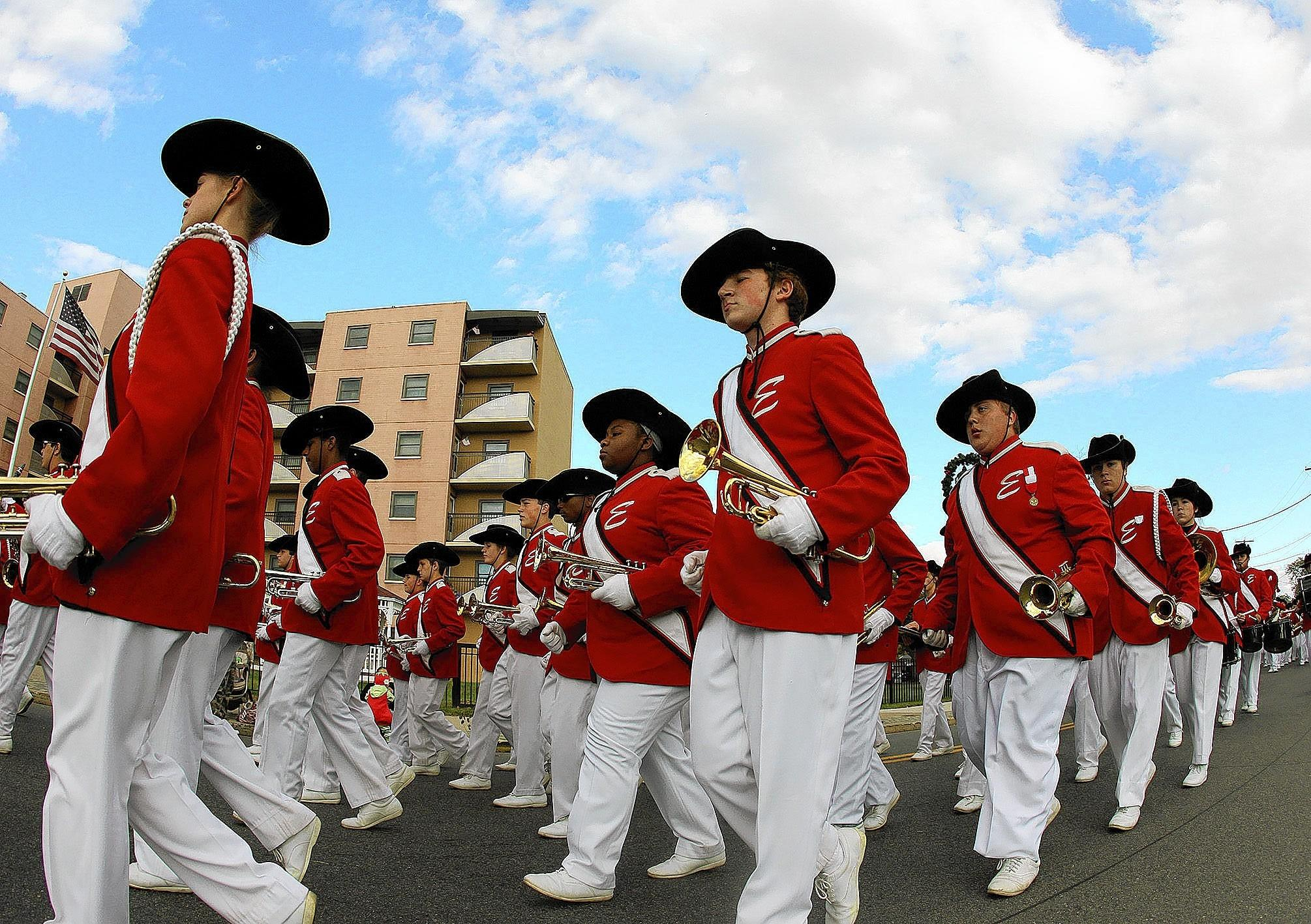 Easton High School Marching Band comes down Main Street, during the Phillipsburg Easton Halloween Parade Sunday October 27, 2013. ////// - NEWS - CHRIS KNIGHT / SPECIAL TO THE MORNING CALL