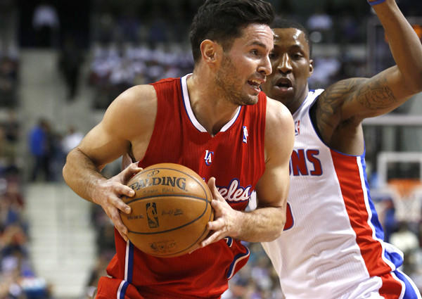 Clippers guard J.J. Redick drives against Pistons guard Kentavious Caldwell-Pope during a game last month in Auburn Hills, Mich.