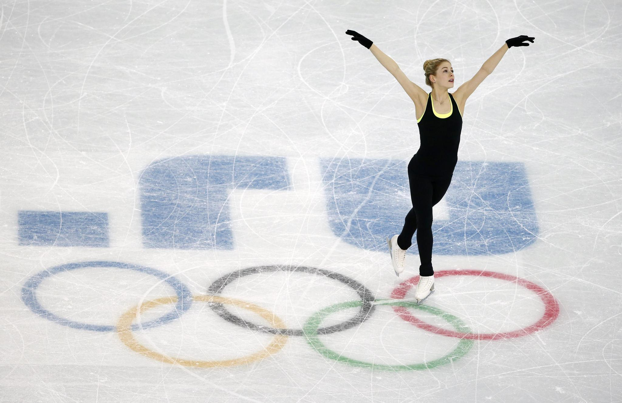 U.S. skater Gracie Gold practices her routine during a training session at the Iceberg Skating Palace.