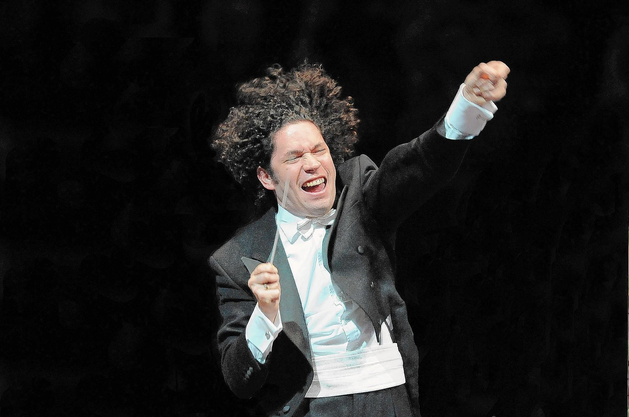 Gustavo Dudamel conducts the Simon Bolivar Symphony Orchestra of Venezuela in London in September 2012.