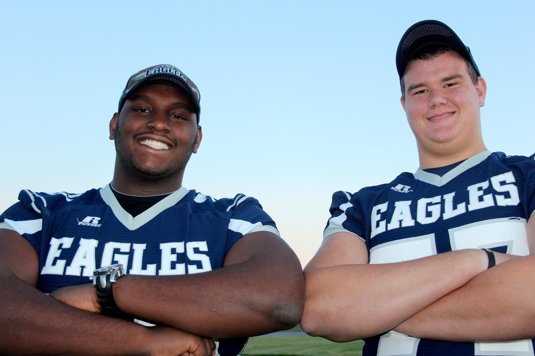T.J. McCoy and Donovan Welch are best friends and also anchors on the Groveland South Lake offensive line.