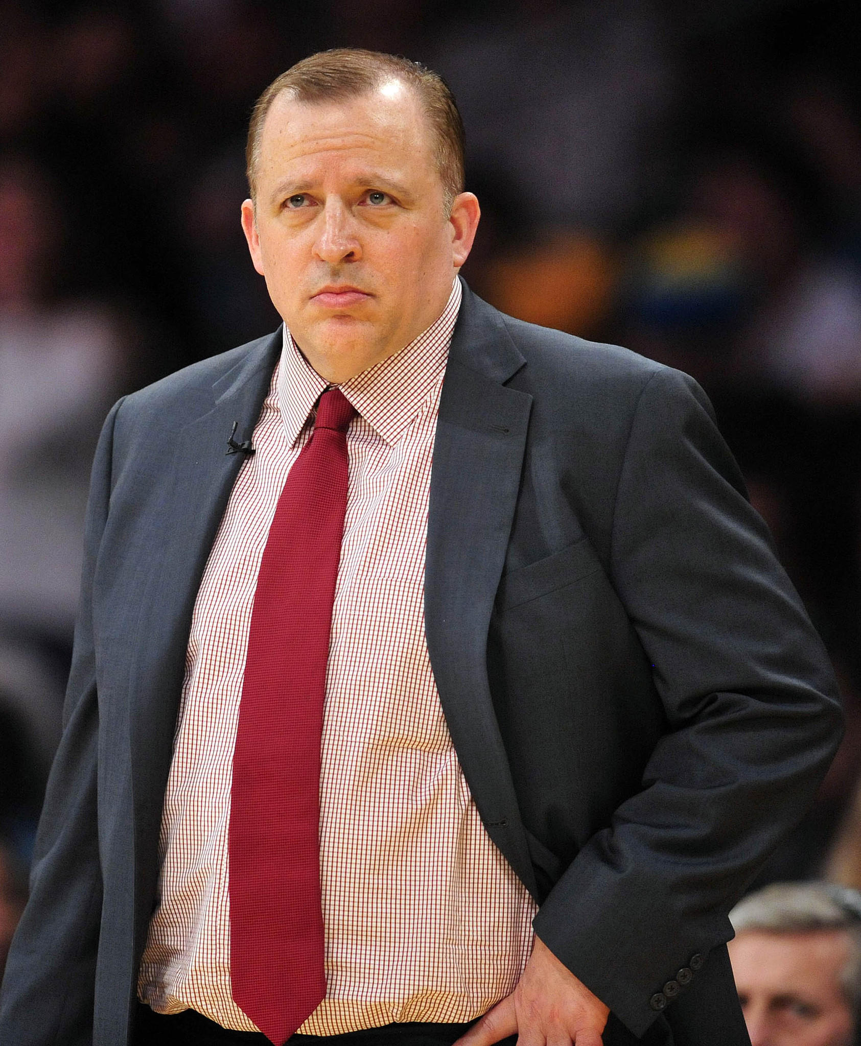 Chicago Bulls head coach Tom Thibodeau watches game action against the Los Angeles Lakers during the second half at Staples Center.