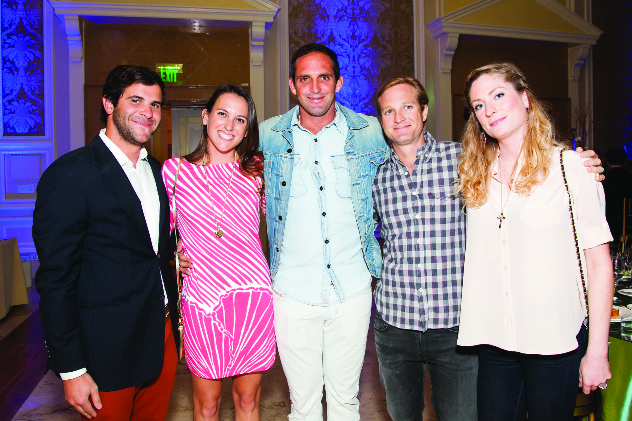 """Society Scene photos - Sean Ferrara, left, Lilly Leas, Chris Leidy, Kendall Cheatham and Mary Brittain Cheatham looked stylish in their """"Palm Beach Chic"""" for the recent Caron and Hanley Treatment Centers"""