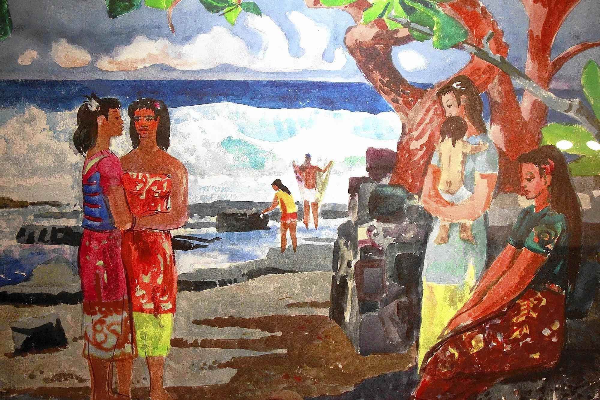 "A scene from Millard Sheet's ""Kamani Trees of Ho'okena,"" 1951, from the collection of Diane and E. Gene Crain, is shown as part of Laguna Art Museum's Spring 2014 season show."