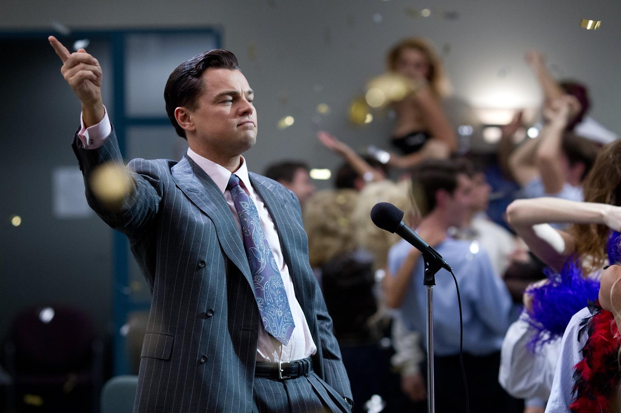 "Leonardo DiCaprio is Jordan Belfort in the movie ""The Wolf of Wall Street"" from Paramount Pictures and Red Granite Pictures."