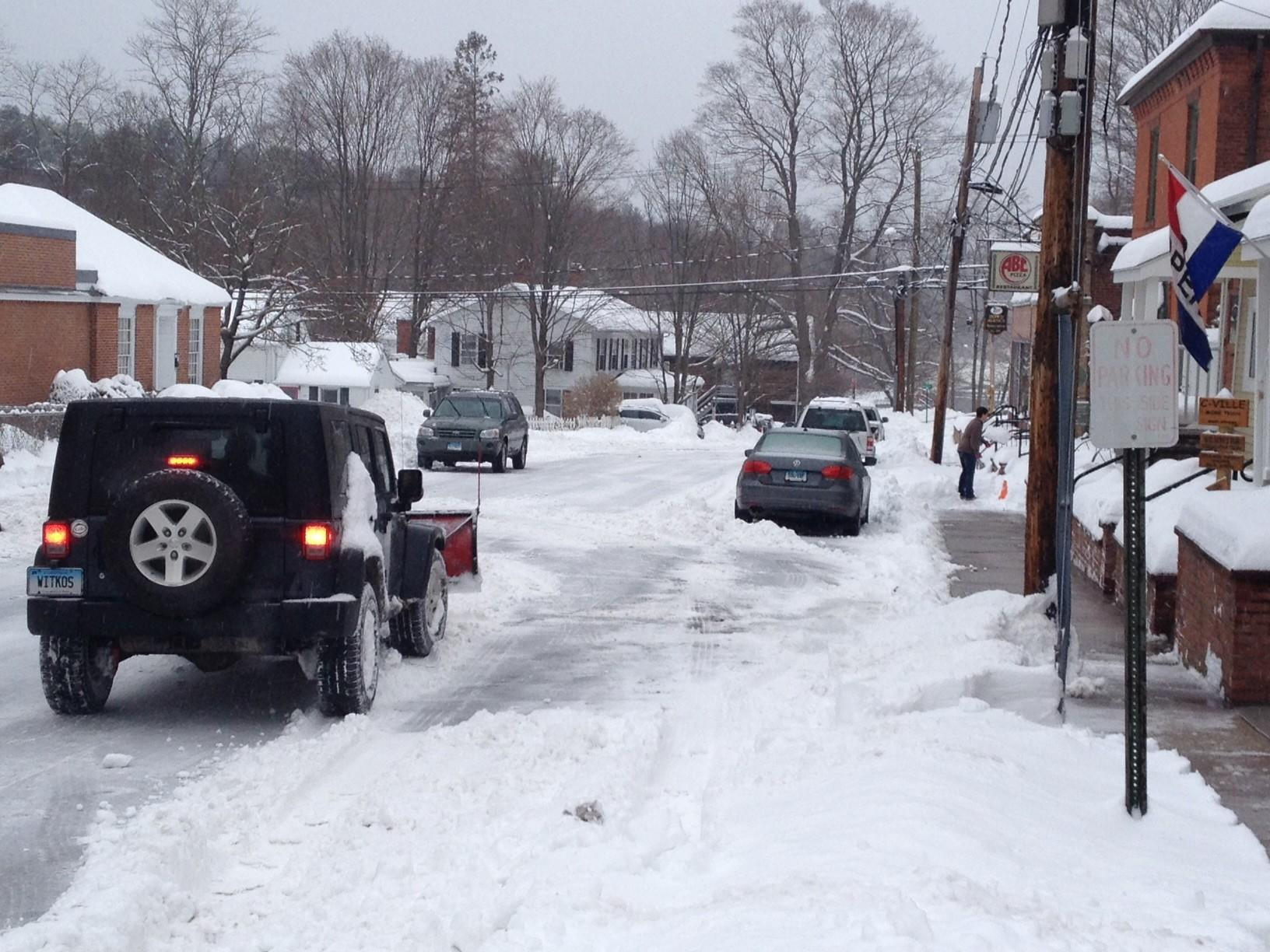 A view of River Street after the Feb. 5 snowstorm. That was cleaned up but storms since then have once again clogged Collinsville with snow and town crews will clear it out on Thursday morning.