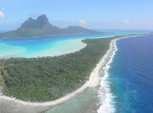 Coastline and lagoon of Bora Bora