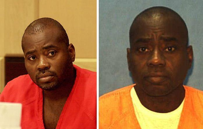 Sun Sentinel file photo of Robert Lavern Henry (left) at a Broward court hearing in 2001, 14 years after the murders of Phyllis Harris and Janet Cox Thermidor and a more recent prison photo from Florida's Department of Corrections.