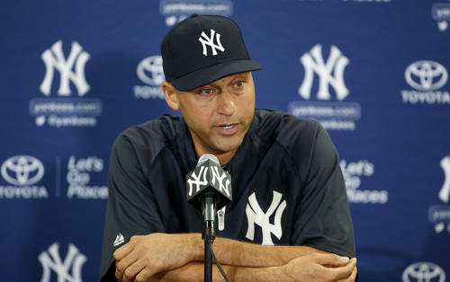 Derek Jeter of the New York Yankees attends a media availability in Tampa, Florida on Feb. 19 after announcing that the 2014 season will be his last before retiring.