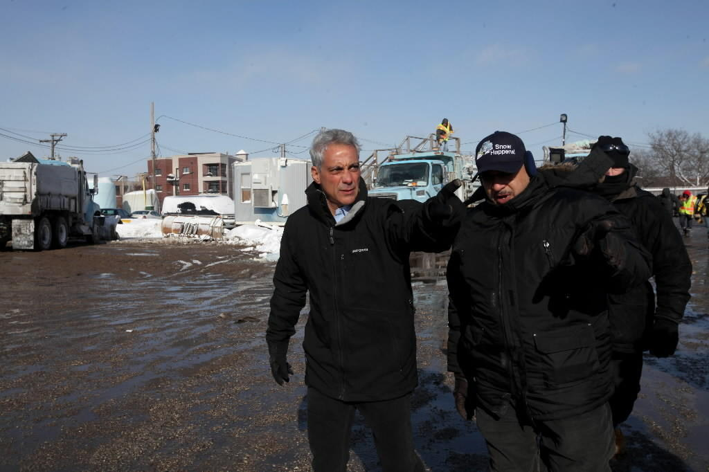 Mayor Rahm Emanuel, seen here last month, says he's put extra city crews to clear catch basins ahead of the melting snow.