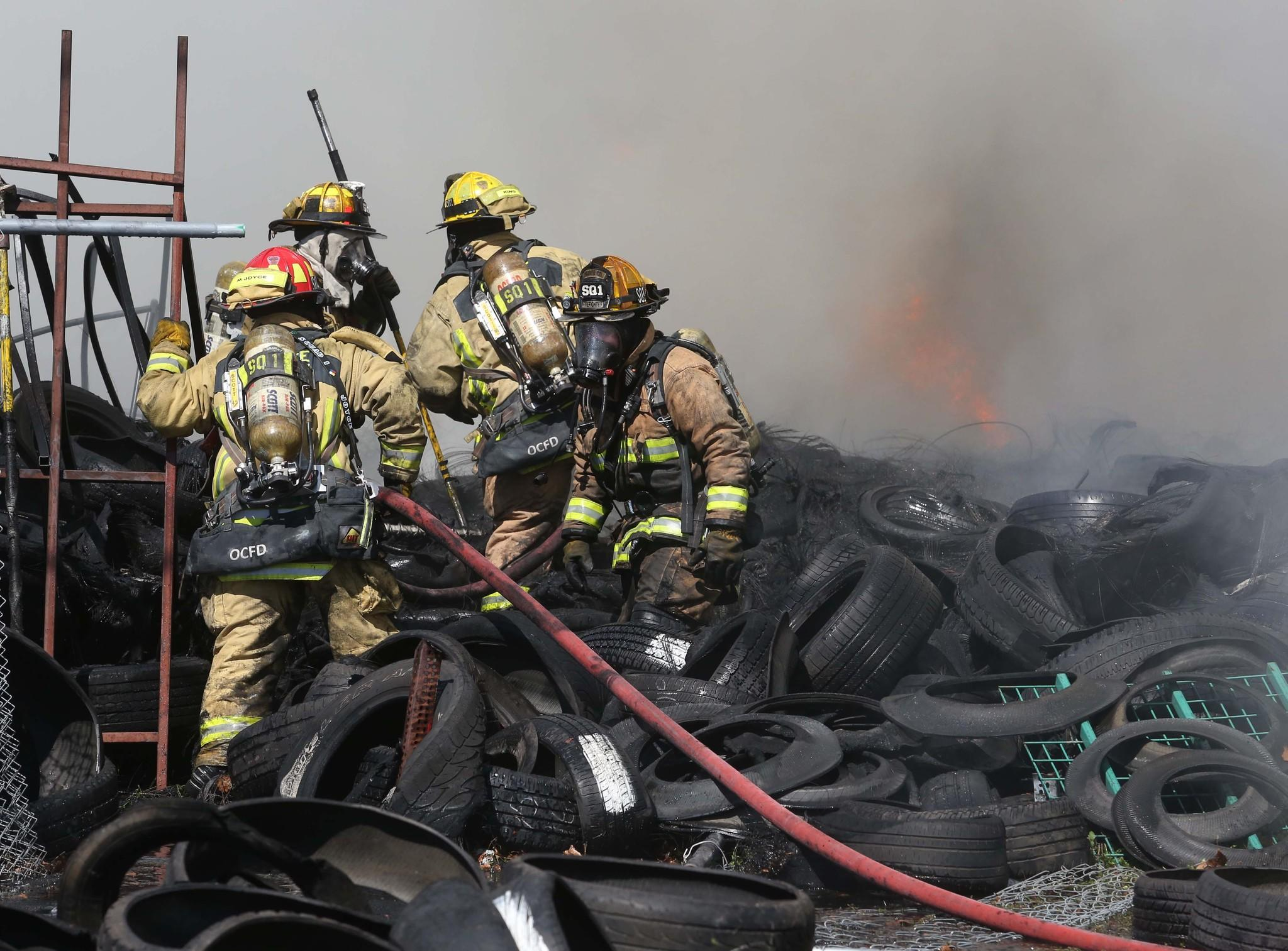 A used tire lot on the Orange Blossom Trail, south of 20th street, caught fire on Wednesday, Feb. 19, 2014.
