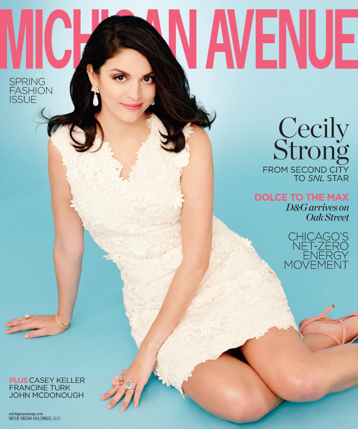 """""""Saturday Night Live"""" cast member Cecily Strong on the cover of Michigan Avenue magazine."""