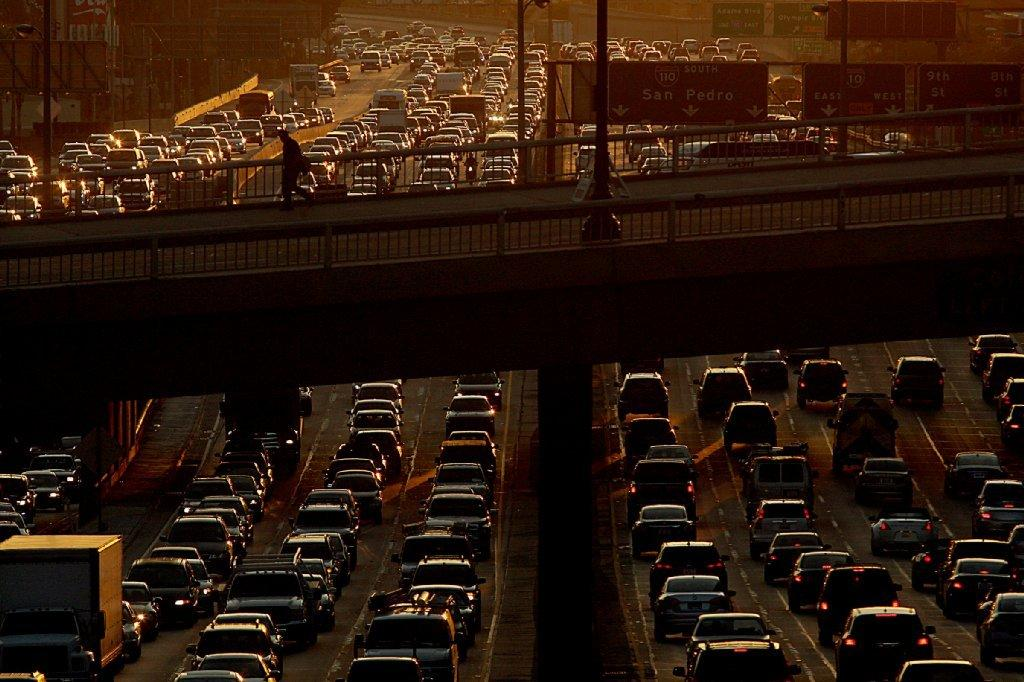 Senate leader Darrell Steinberg is proposing a carbon tax on motor vehicle fuel. Above, the 110 Freeway in Los Angeles on the Friday before Christmas.