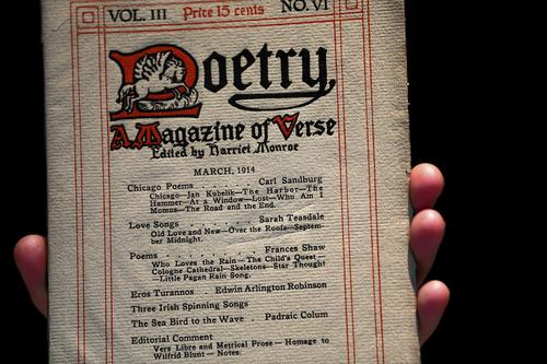 """An original copy of the Poetry Magazine from 1914 that featured the poem """"Chicago"""" by Carl Sandburg."""