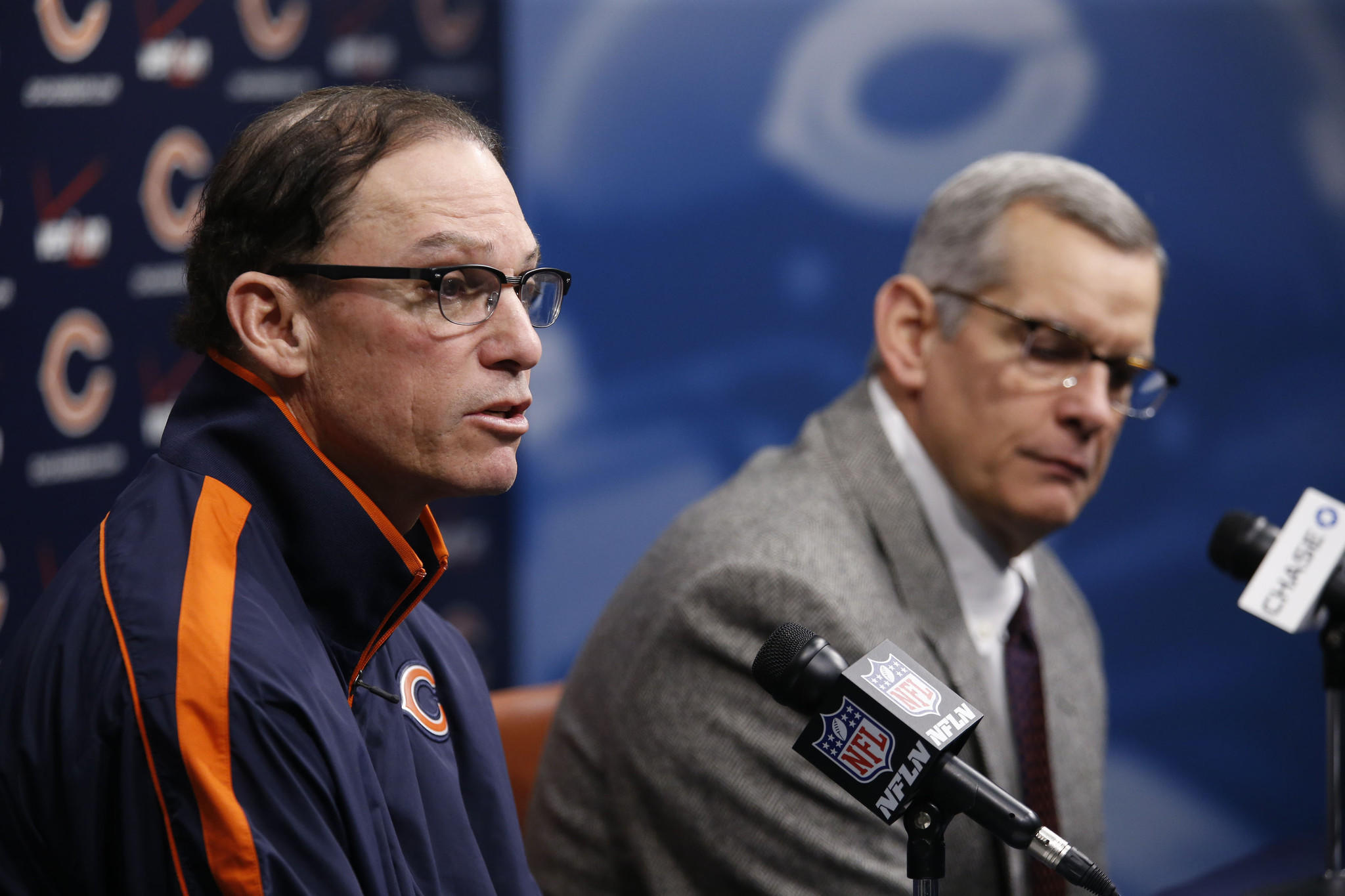 Bears coach Marc Trestman and GM Phil Emery.