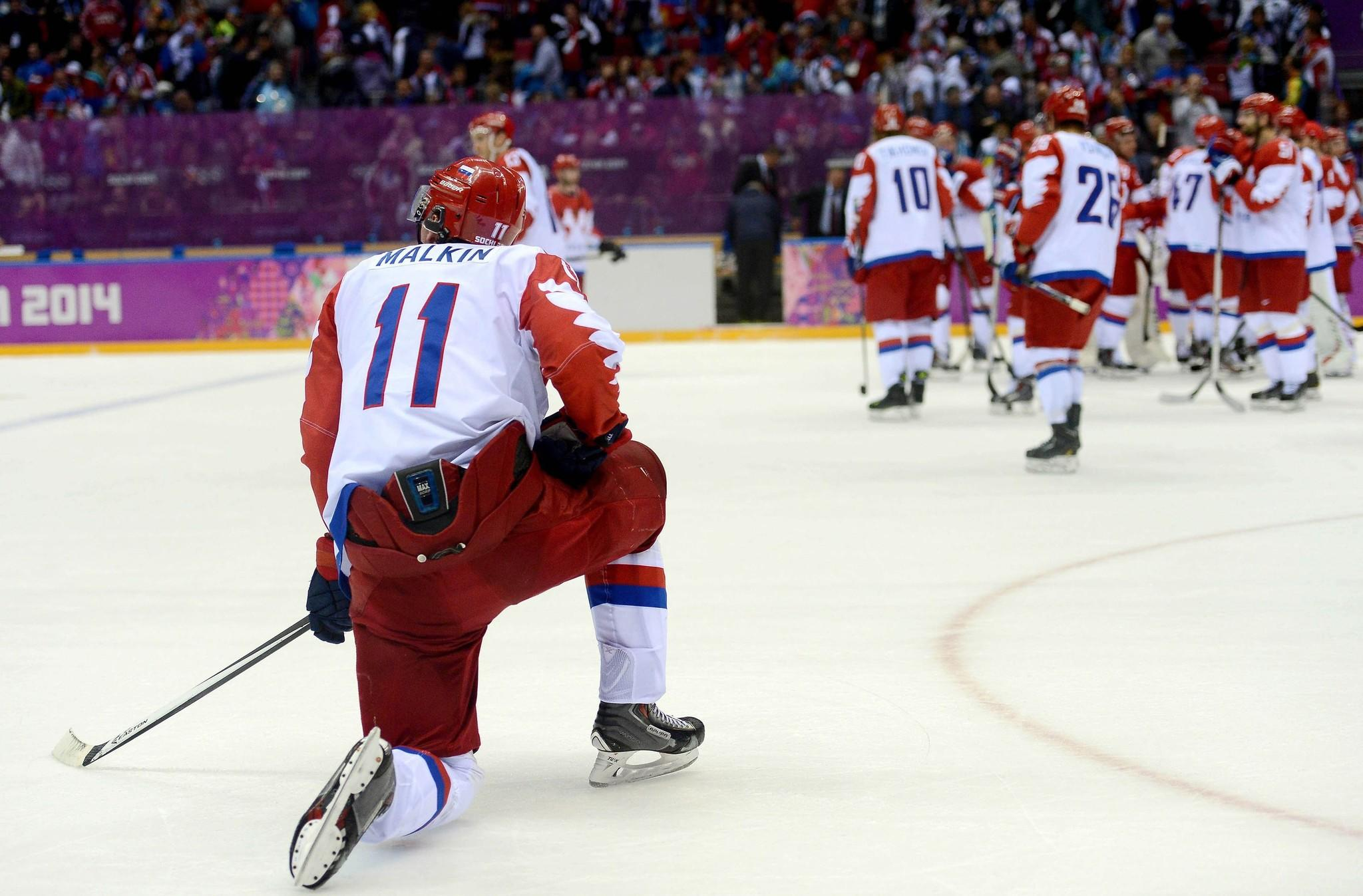 Evgeni Malkin looks down the ice after Russia's 3-1 quarterfinal loss to Finland on Wednesday at the Bolshoy Ice Dome.