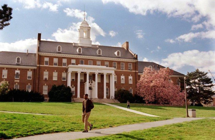 A student walks in front of H.J. Patterson Hall on the University of Maryland's College Park campus.