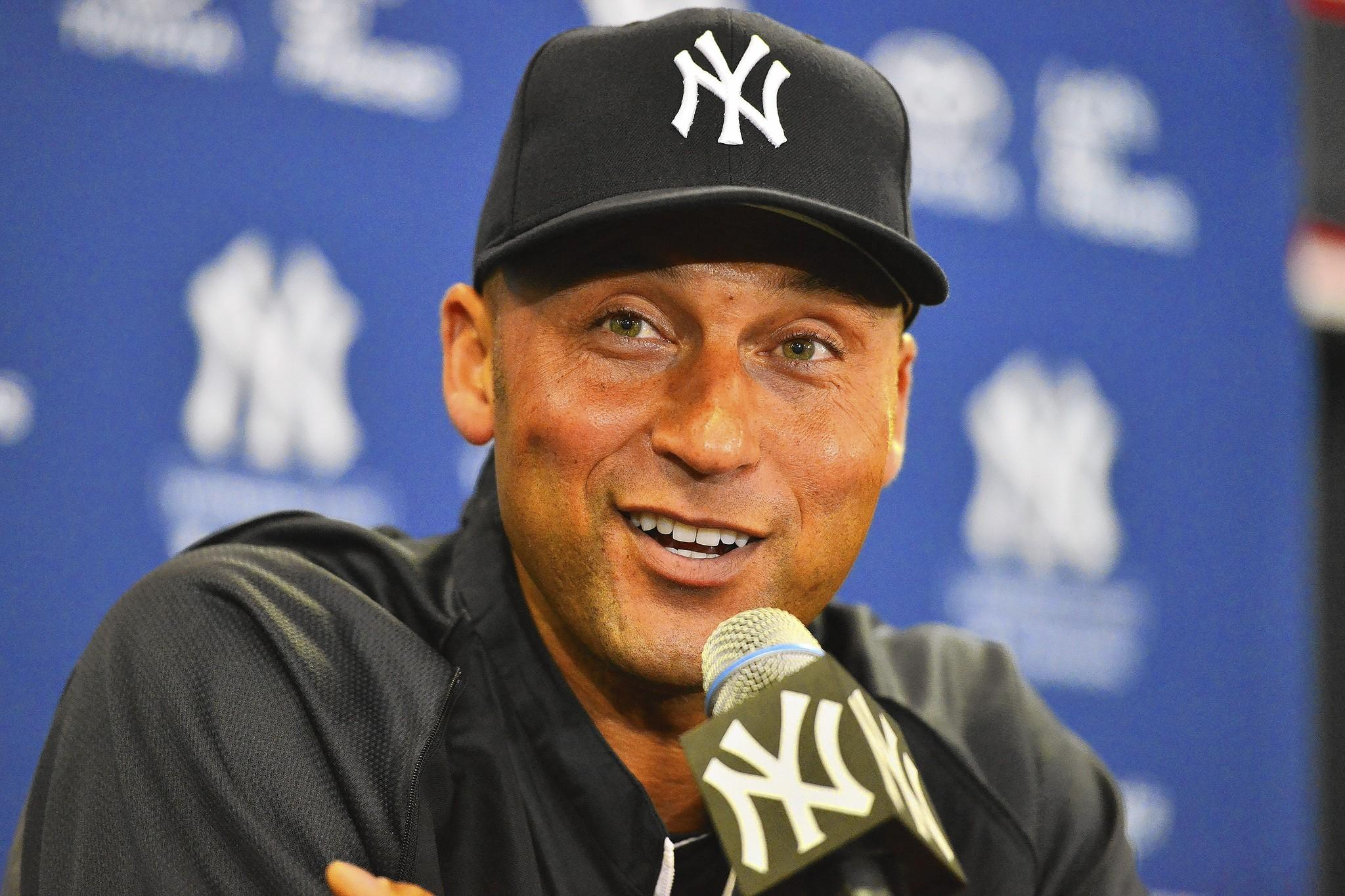 Feb 19, 2014; Tampa, FL, USA; New York Yankees infielder Derek Jeter (2) speaks to the media during an media availability at George M. Steinbrenner Field.