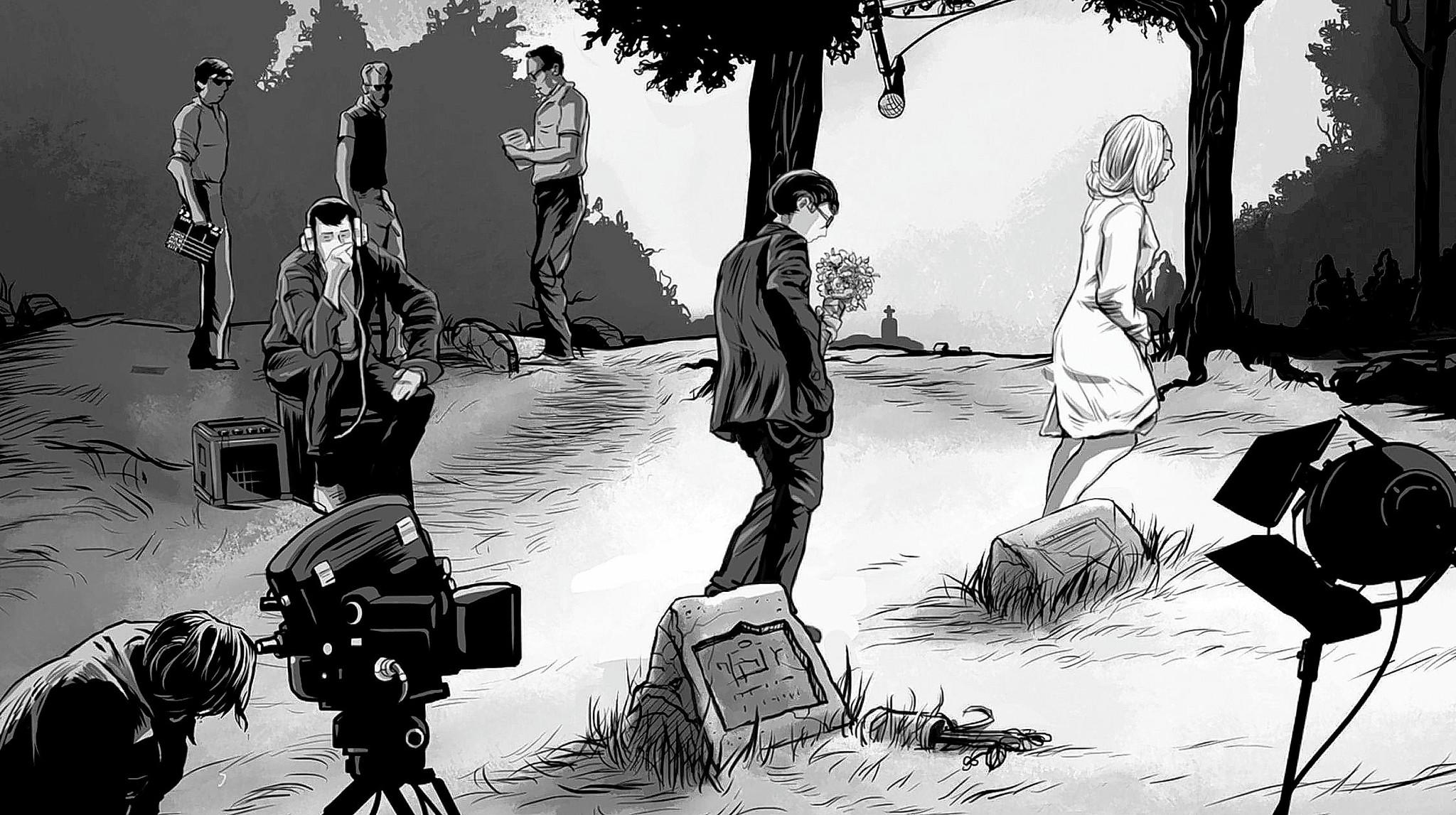 An illustration of the cemetery scene from the seminal 1968 horror film 'Night of the Living Dead' from 'Birth of the Living Dead,' a documentary by Rob Kuhns. The George Romero film was shot in Pittsburgh.