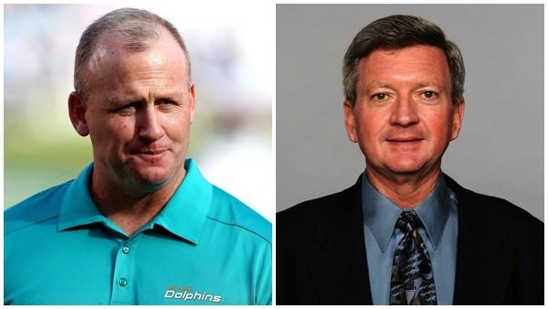 Offensive line coach Jim Turner, left, and longtime trainer Kevin O'Neill were both fired by the Miami Dolphins in the wake of Ted Wells' NFL investigation that was sharply critical on the men's behavior.