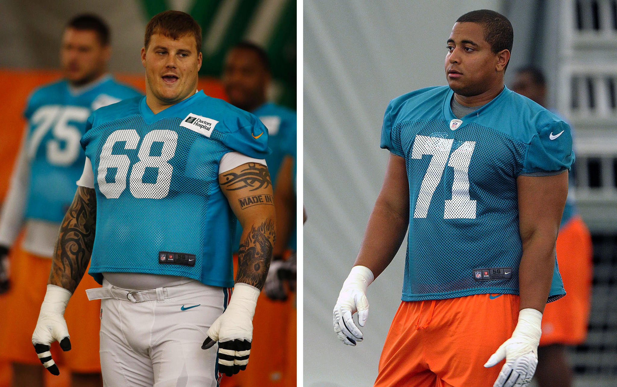 Composite image of Miami Dolphins playesr Richie Incognito (68) and Jonathan Martin.