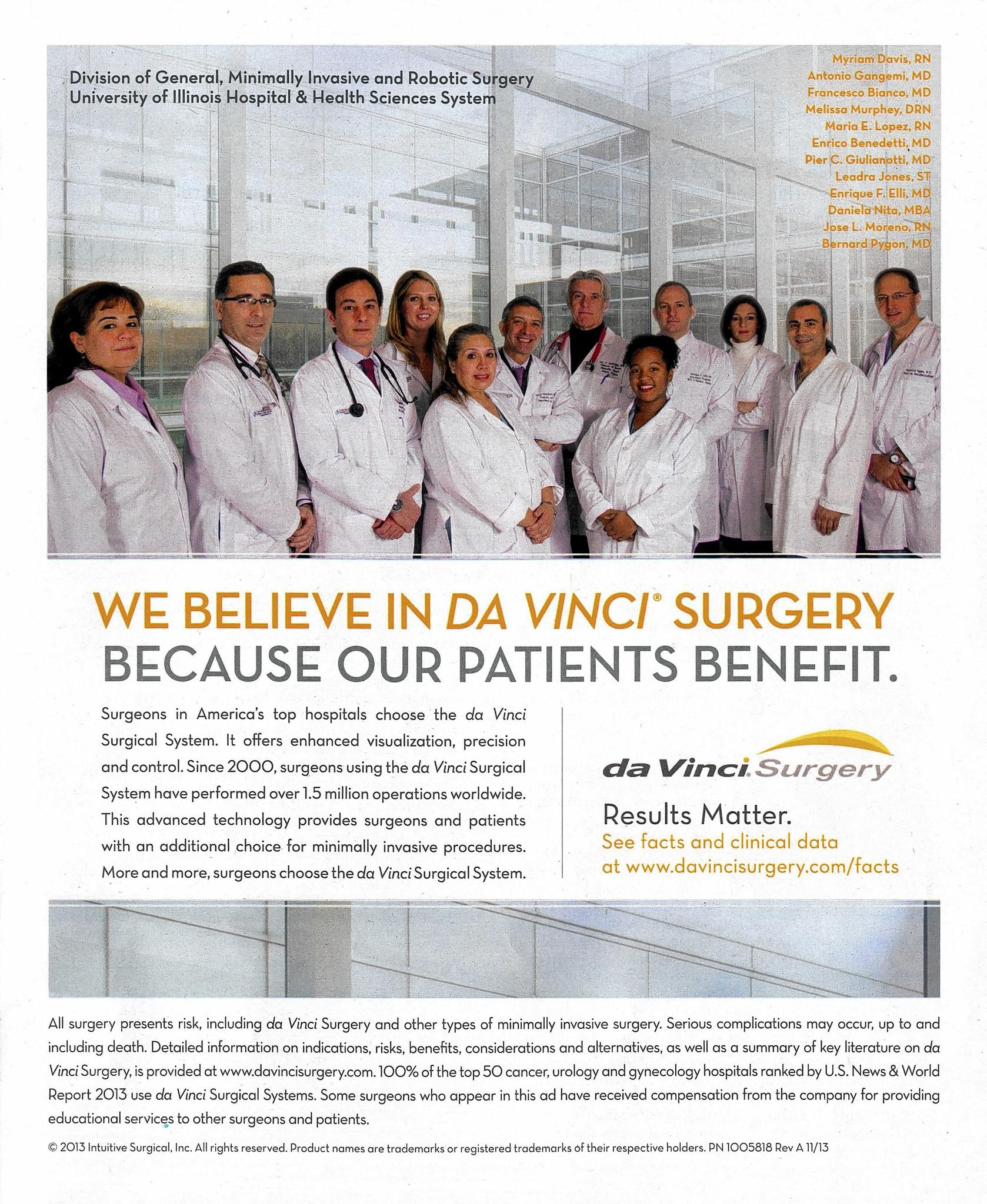 An advertisement for the da Vinci robotic surgery system features University of Illinois hospital employees.