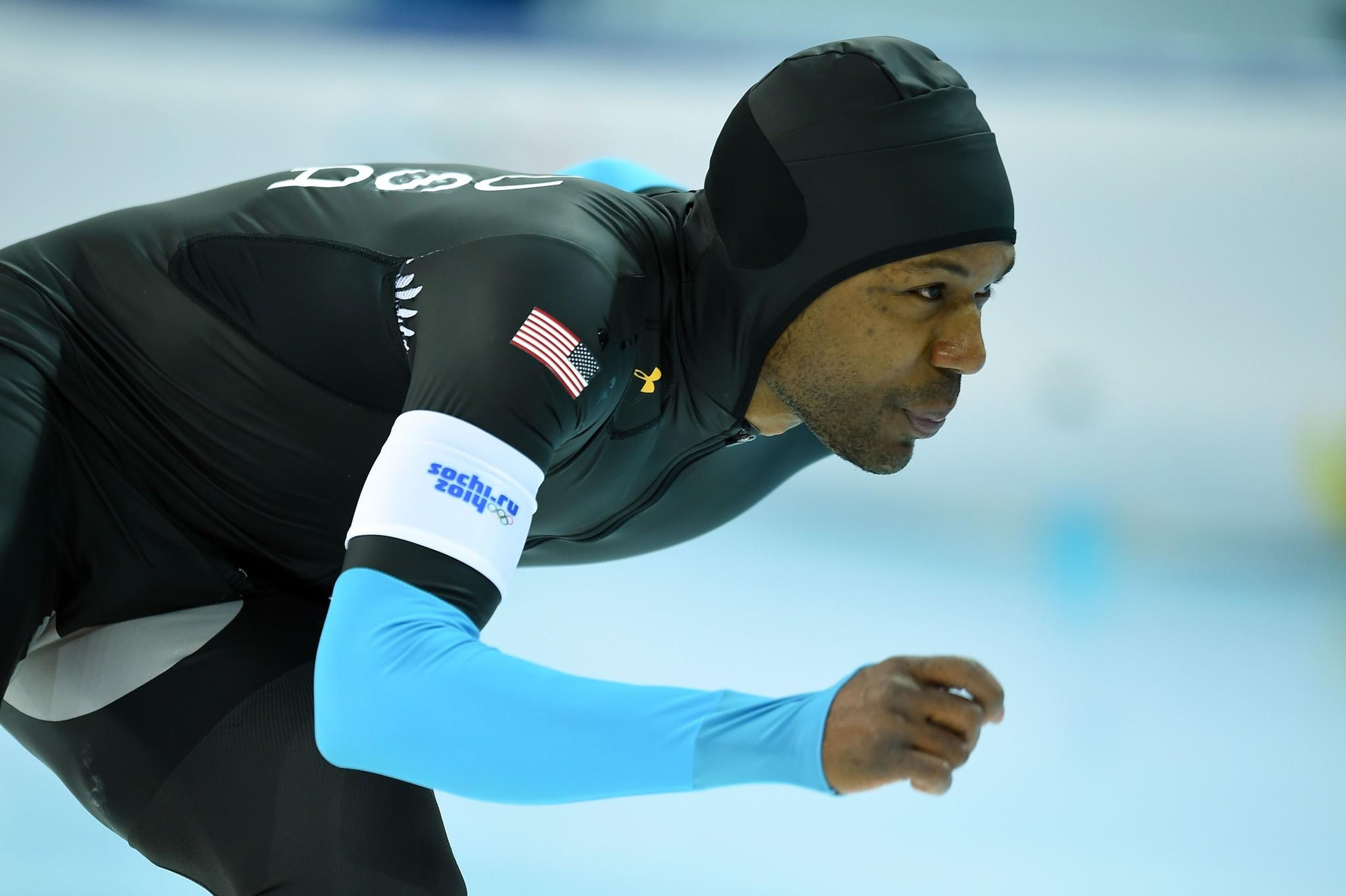 Shani Davis competes in the Men's Speedskating 1,500 meters at the Adler Arena during the Sochi Winter Olympics.