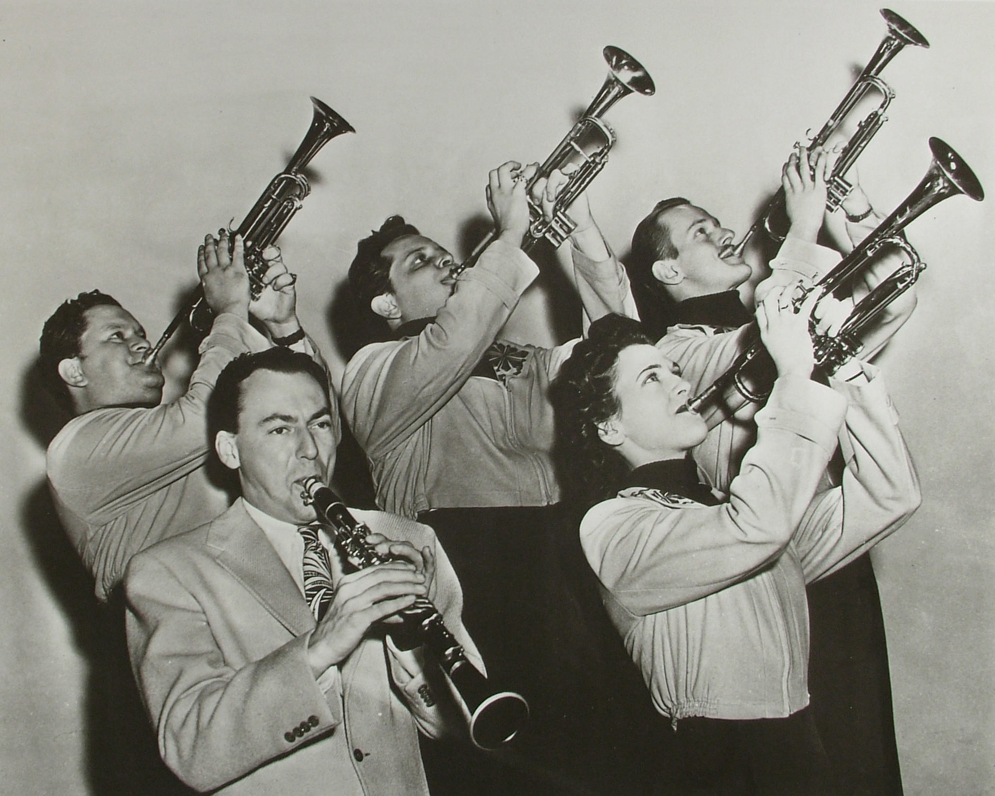 "Billie Rogers in Woody Hermans trumpet section from the documentary ""The Girls in the Band."""