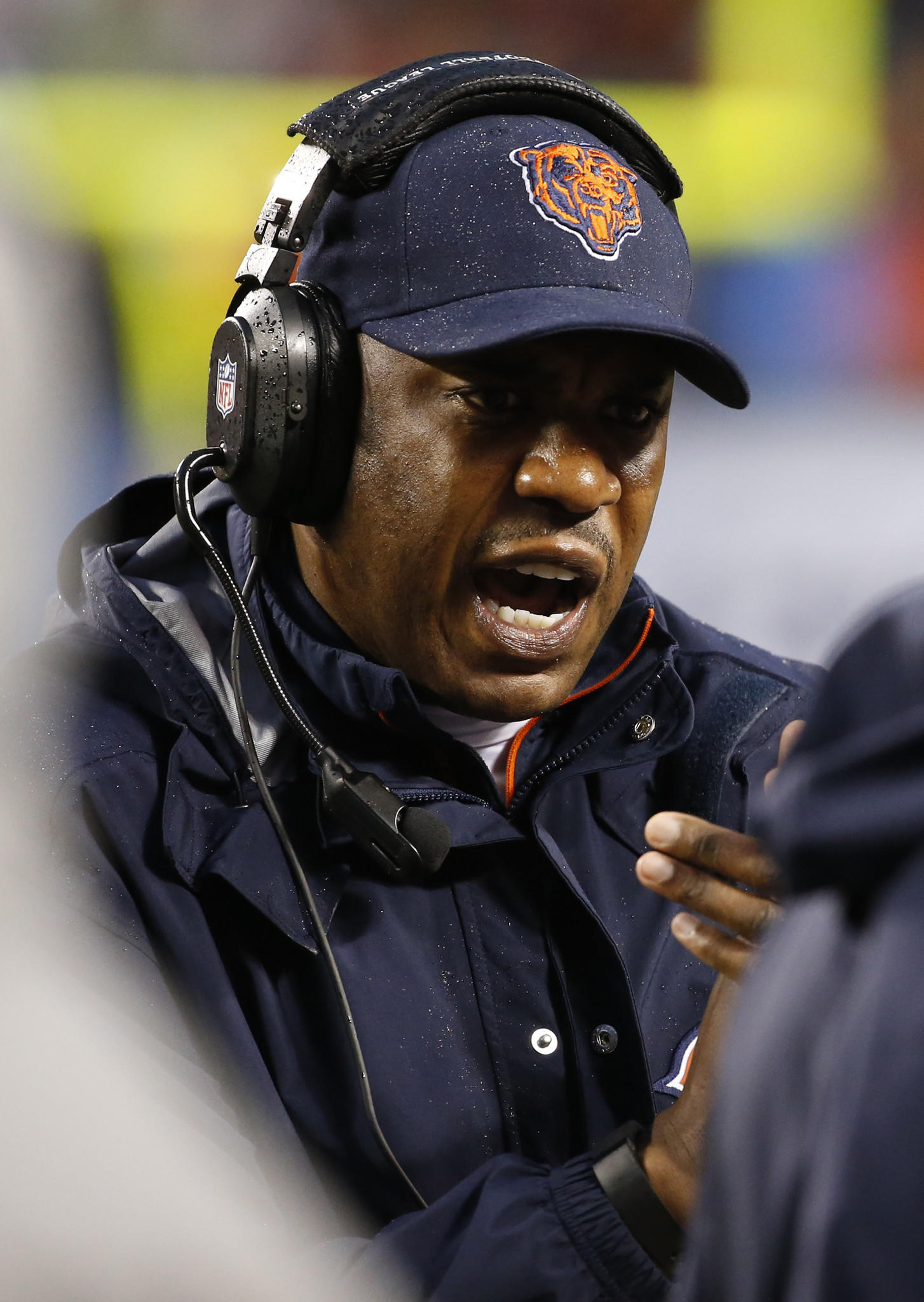 Chicago Bears defensive coordinator Mel Tucker cheers on the defense in the fourth quarter against the Baltimore Ravens at Soldier Field.