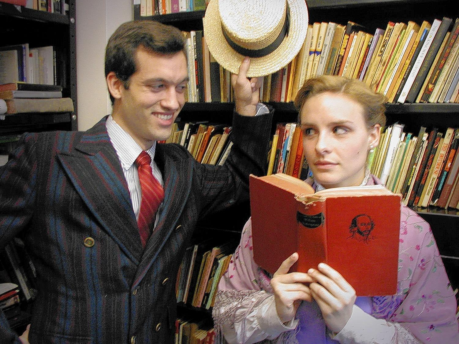 "Andrew Conners and Alexis Mativi play Harold Hill and Marian the librarian in ""The Music Man."""